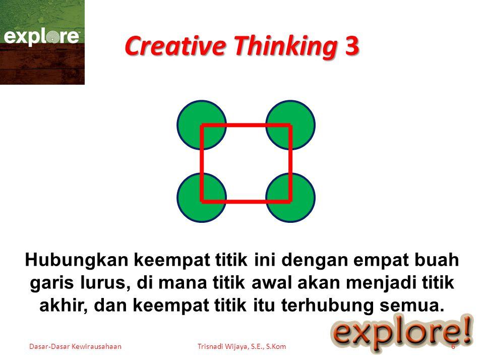 Creative Thinking 3 Dasar-Dasar KewirausahaanTrisnadi Wijaya, S.E., S.Kom6 Hubungkan keempat titik ini dengan empat buah garis lurus, di mana titik aw