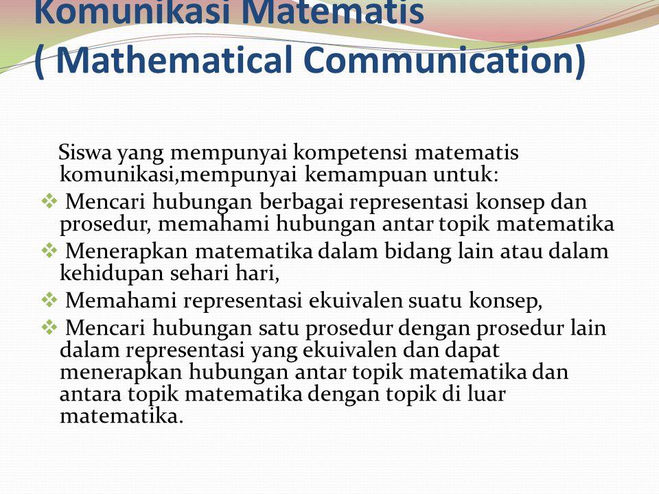 Soal Komunikasi Matematis  Pak Anton naik mobil dari kota A menuju kota B.