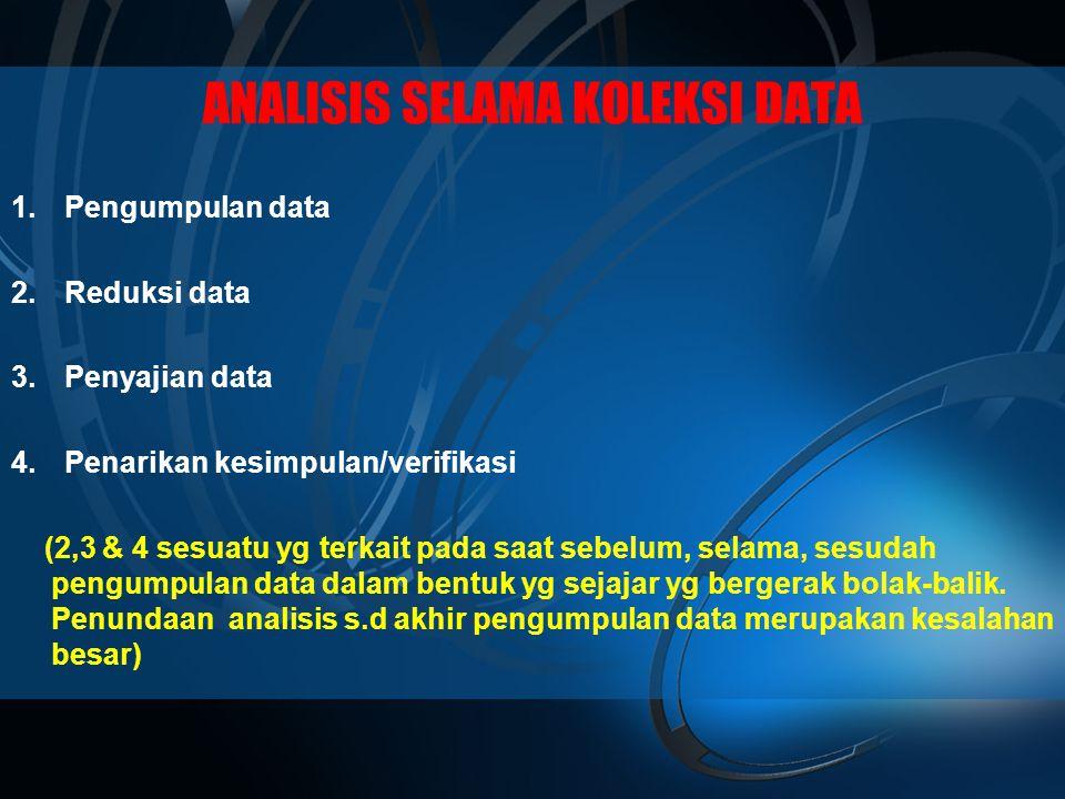 ANALISIS SELAMA KOLEKSI DATA 1.Pengumpulan data 2.Reduksi data 3.Penyajian data 4.Penarikan kesimpulan/verifikasi (2,3 & 4 sesuatu yg terkait pada saat sebelum, selama, sesudah pengumpulan data dalam bentuk yg sejajar yg bergerak bolak-balik.