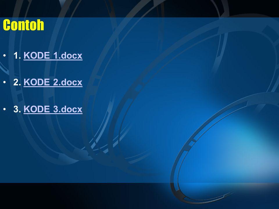Contoh •1. KODE 1.docxKODE 1.docx •2. KODE 2.docxKODE 2.docx •3. KODE 3.docxKODE 3.docx