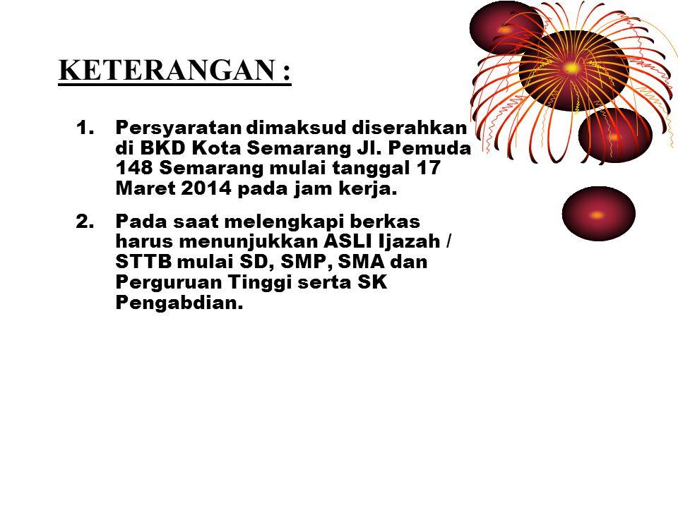 KETERANGAN : 1.Persyaratan dimaksud diserahkan di BKD Kota Semarang Jl.