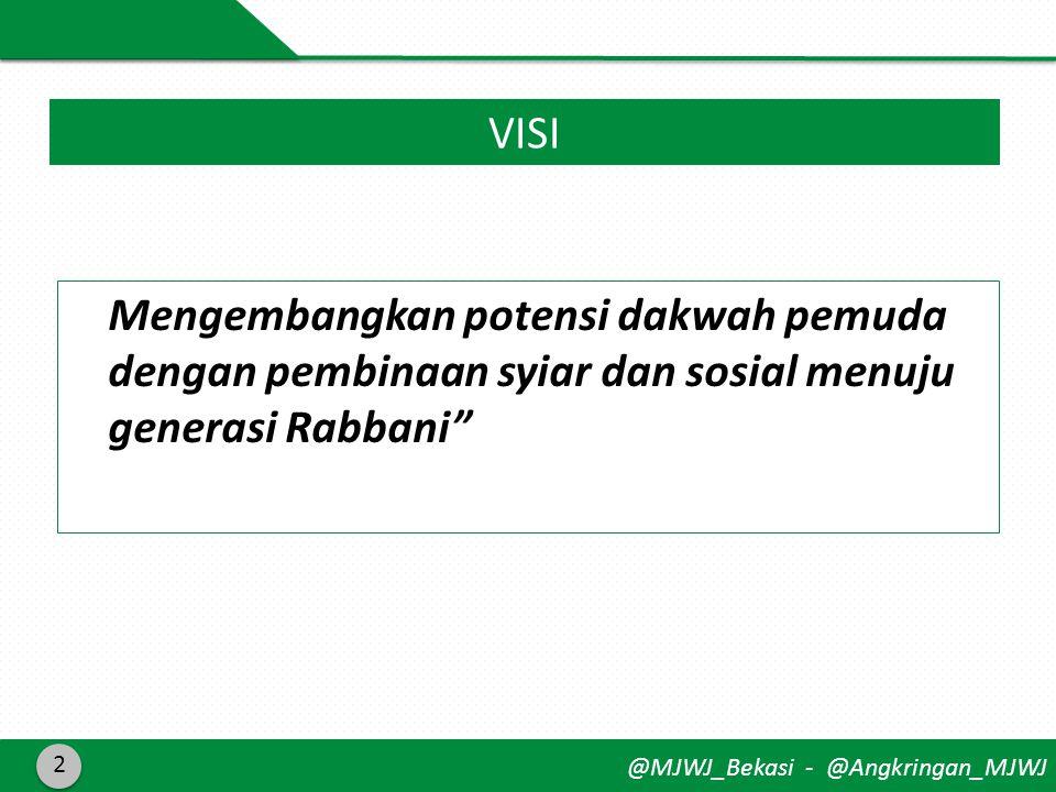 @MJWJ_Bekasi - @Angkringan_MJWJ Mengembangkan potensi dakwah pemuda dengan pembinaan syiar dan sosial menuju generasi Rabbani 2 VISI