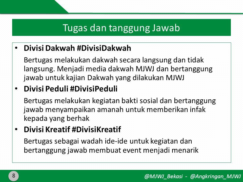 @MJWJ_Bekasi - @Angkringan_MJWJ • Divisi Dakwah #DivisiDakwah Bertugas melakukan dakwah secara langsung dan tidak langsung.