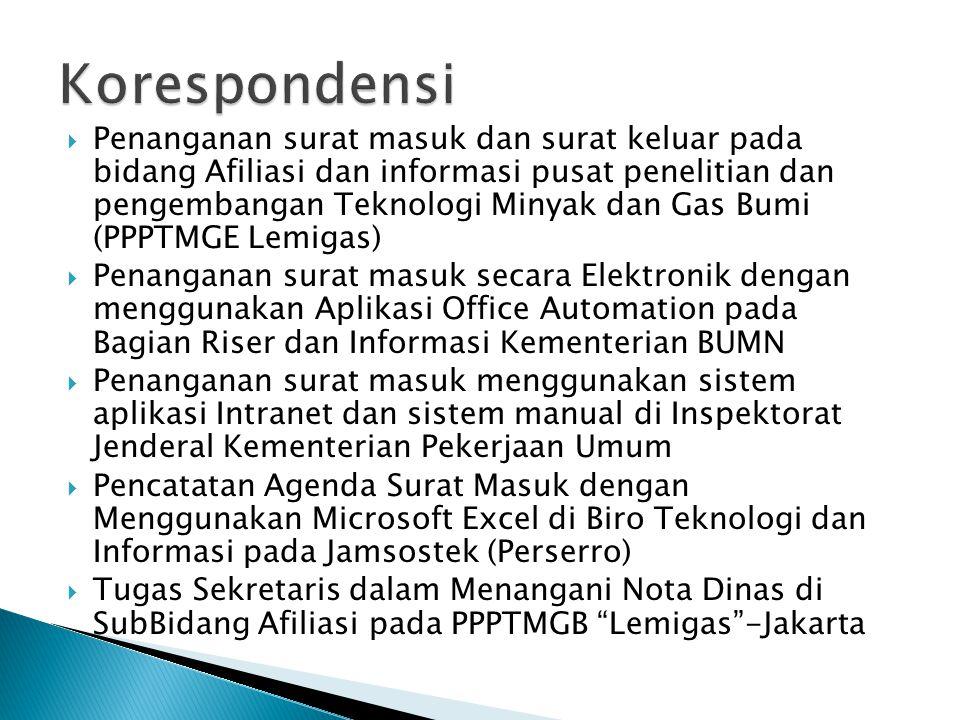  Penanganan surat masuk dan surat keluar pada bidang Afiliasi dan informasi pusat penelitian dan pengembangan Teknologi Minyak dan Gas Bumi (PPPTMGE
