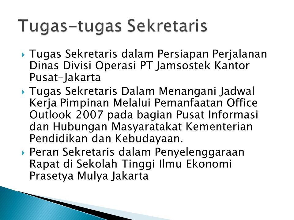  Tugas Sekretaris dalam Persiapan Perjalanan Dinas Divisi Operasi PT Jamsostek Kantor Pusat-Jakarta  Tugas Sekretaris Dalam Menangani Jadwal Kerja P
