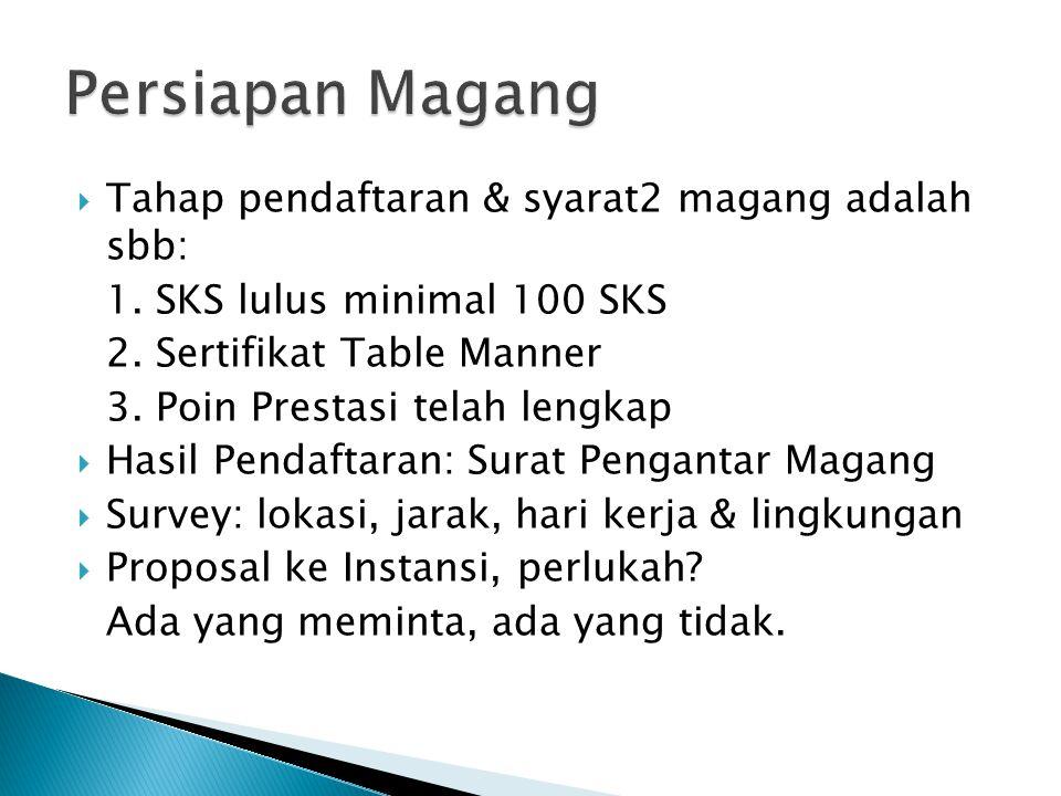  Tahap pendaftaran & syarat2 magang adalah sbb: 1. SKS lulus minimal 100 SKS 2. Sertifikat Table Manner 3. Poin Prestasi telah lengkap  Hasil Pendaf