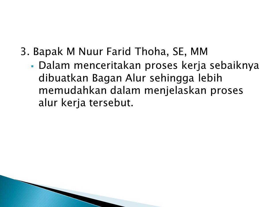 3. Bapak M Nuur Farid Thoha, SE, MM  Dalam menceritakan proses kerja sebaiknya dibuatkan Bagan Alur sehingga lebih memudahkan dalam menjelaskan prose
