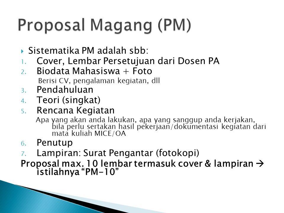  Sistematika PM adalah sbb: 1. Cover, Lembar Persetujuan dari Dosen PA 2. Biodata Mahasiswa + Foto Berisi CV, pengalaman kegiatan, dll 3. Pendahuluan