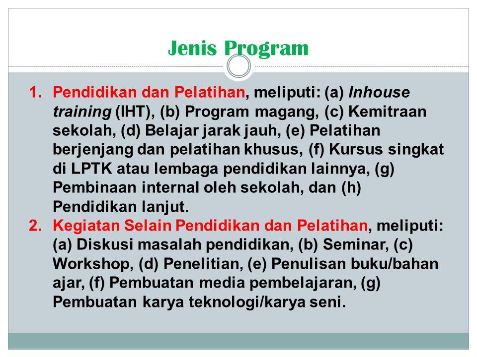 1.Pendidikan dan Pelatihan, meliputi: (a) Inhouse training (IHT), (b) Program magang, (c) Kemitraan sekolah, (d) Belajar jarak jauh, (e) Pelatihan ber