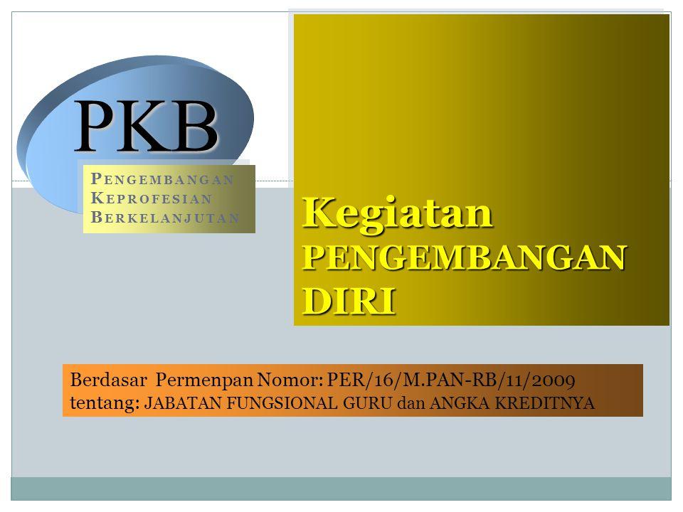 16 Kegiatan PENGEMBANGAN DIRI Berdasar Permenpan Nomor: PER/16/M.PAN-RB/11/2009 tentang: JABATAN FUNGSIONAL GURU dan ANGKA KREDITNYA Berdasar Permenpa