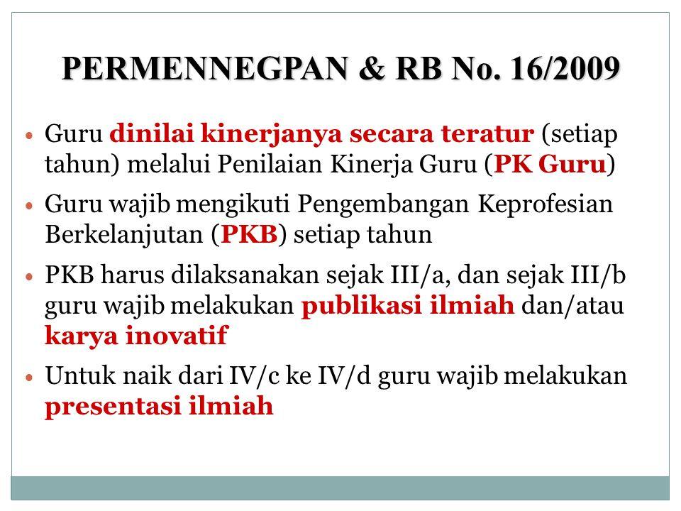 PERMENNEGPAN & RB No. 16/2009  Guru dinilai kinerjanya secara teratur (setiap tahun) melalui Penilaian Kinerja Guru (PK Guru)  Guru wajib mengikuti