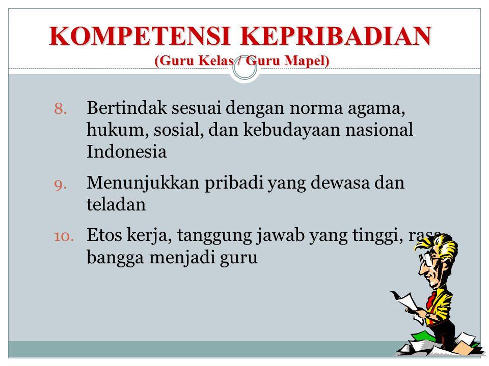 KOMPETENSI KEPRIBADIAN (Guru Kelas / Guru Mapel) 8. Bertindak sesuai dengan norma agama, hukum, sosial, dan kebudayaan nasional Indonesia 9. Menunjukk