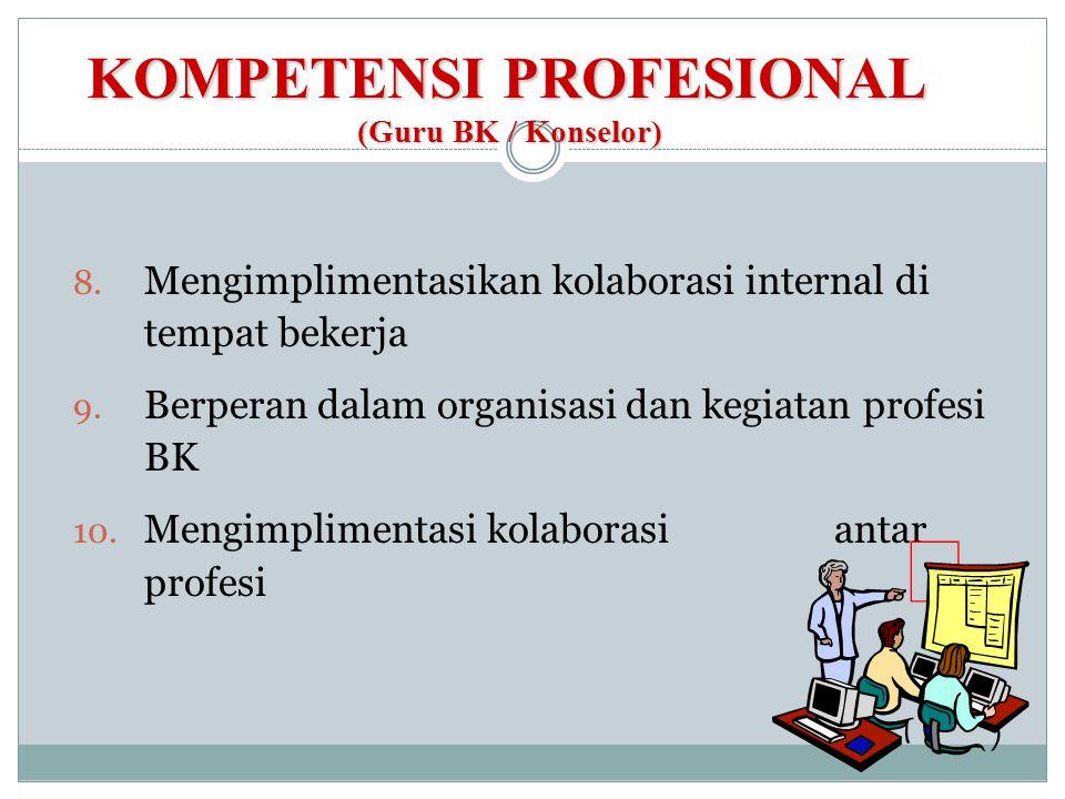 KOMPETENSI PROFESIONAL (Guru BK / Konselor) 8. Mengimplimentasikan kolaborasi internal di tempat bekerja 9. Berperan dalam organisasi dan kegiatan pro