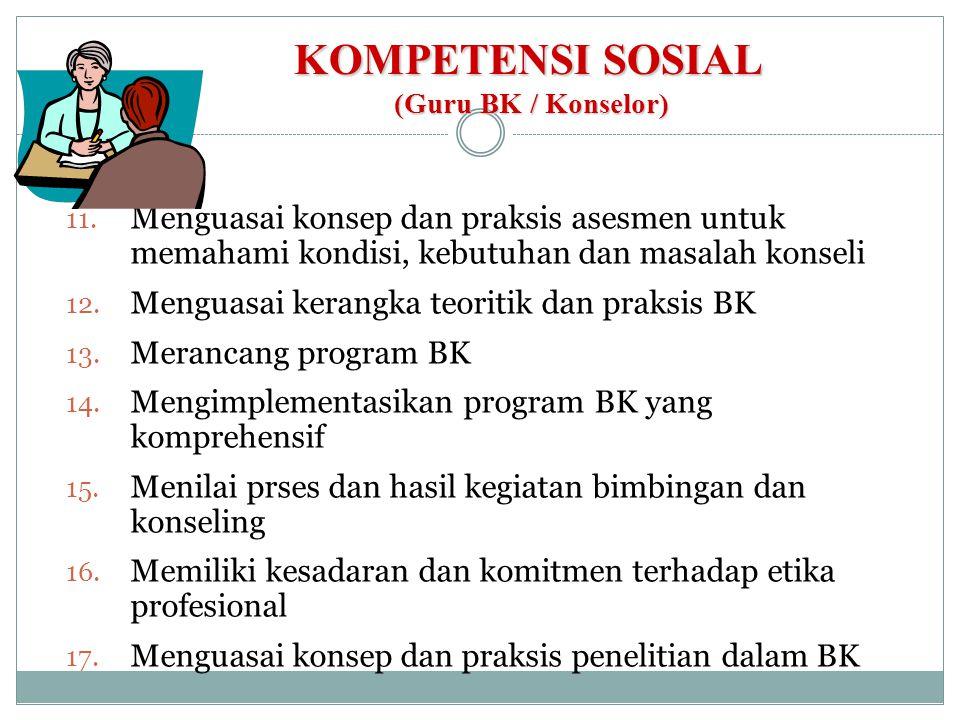 KOMPETENSI SOSIAL (Guru BK / Konselor) 11. Menguasai konsep dan praksis asesmen untuk memahami kondisi, kebutuhan dan masalah konseli 12. Menguasai ke