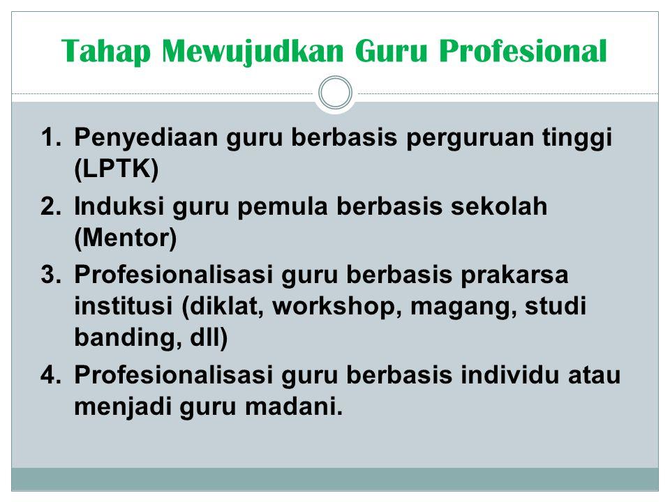 1.Penyediaan guru berbasis perguruan tinggi (LPTK) 2.Induksi guru pemula berbasis sekolah (Mentor) 3.Profesionalisasi guru berbasis prakarsa institusi