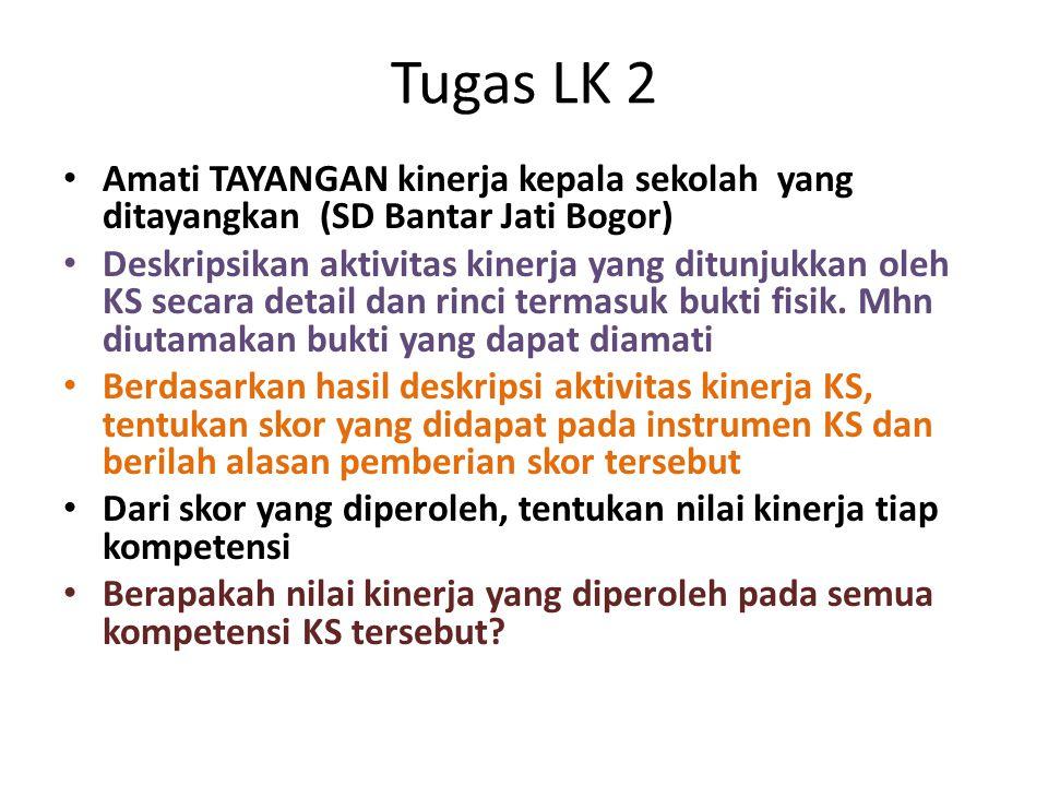 Tugas LK 2 • Amati TAYANGAN kinerja kepala sekolah yang ditayangkan (SD Bantar Jati Bogor) • Deskripsikan aktivitas kinerja yang ditunjukkan oleh KS s