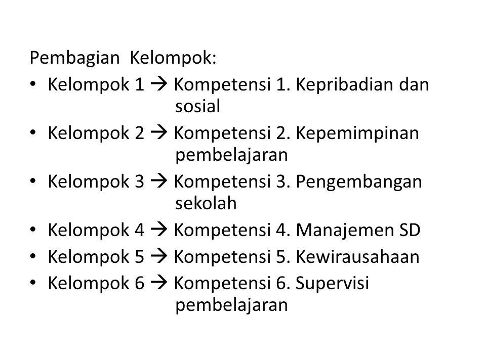 Pembagian Kelompok: • Kelompok 1  Kompetensi 1. Kepribadian dan sosial • Kelompok 2  Kompetensi 2. Kepemimpinan pembelajaran • Kelompok 3  Kompeten