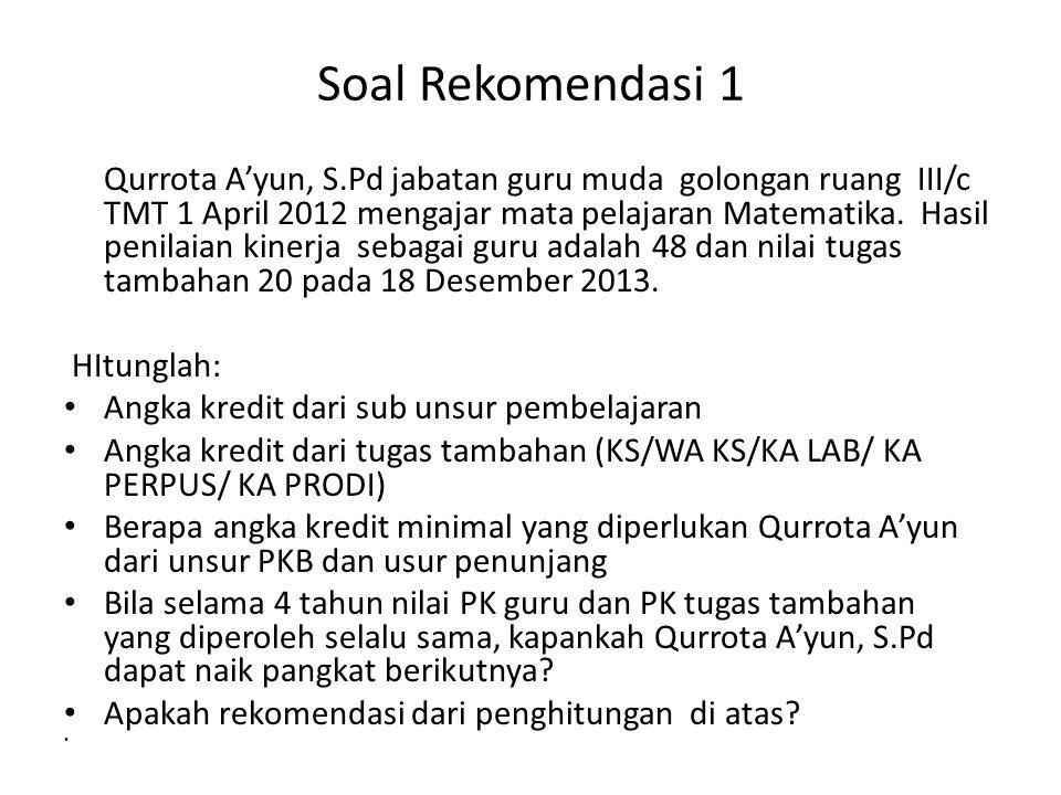 Soal Rekomendasi 1 Qurrota A'yun, S.Pd jabatan guru muda golongan ruang III/c TMT 1 April 2012 mengajar mata pelajaran Matematika. Hasil penilaian kin