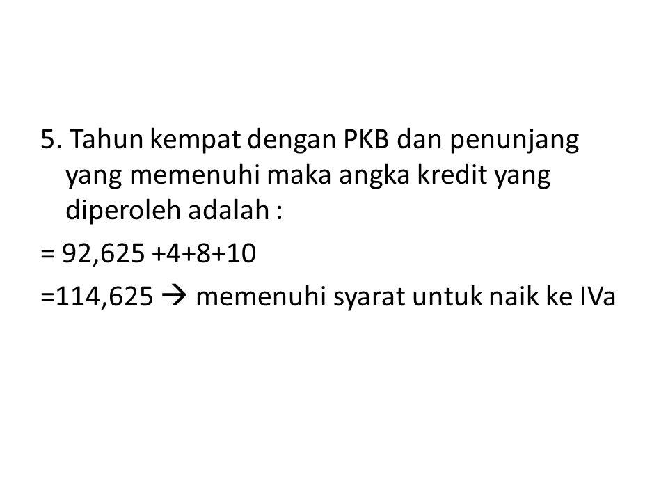 5. Tahun kempat dengan PKB dan penunjang yang memenuhi maka angka kredit yang diperoleh adalah : = 92,625 +4+8+10 =114,625  memenuhi syarat untuk nai