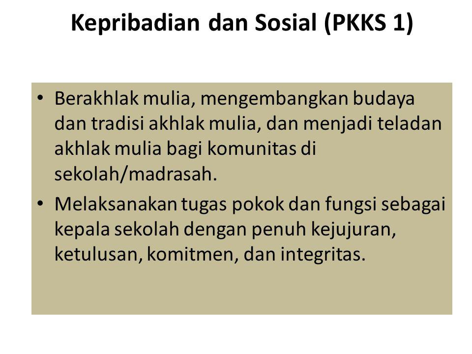 Kepribadian dan Sosial (PKKS 1) • Berakhlak mulia, mengembangkan budaya dan tradisi akhlak mulia, dan menjadi teladan akhlak mulia bagi komunitas di s