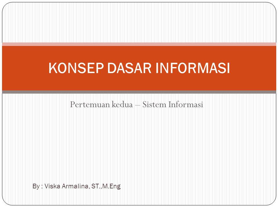 Pertemuan kedua – Sistem Informasi KONSEP DASAR INFORMASI By : Viska Armalina, ST.,M.Eng