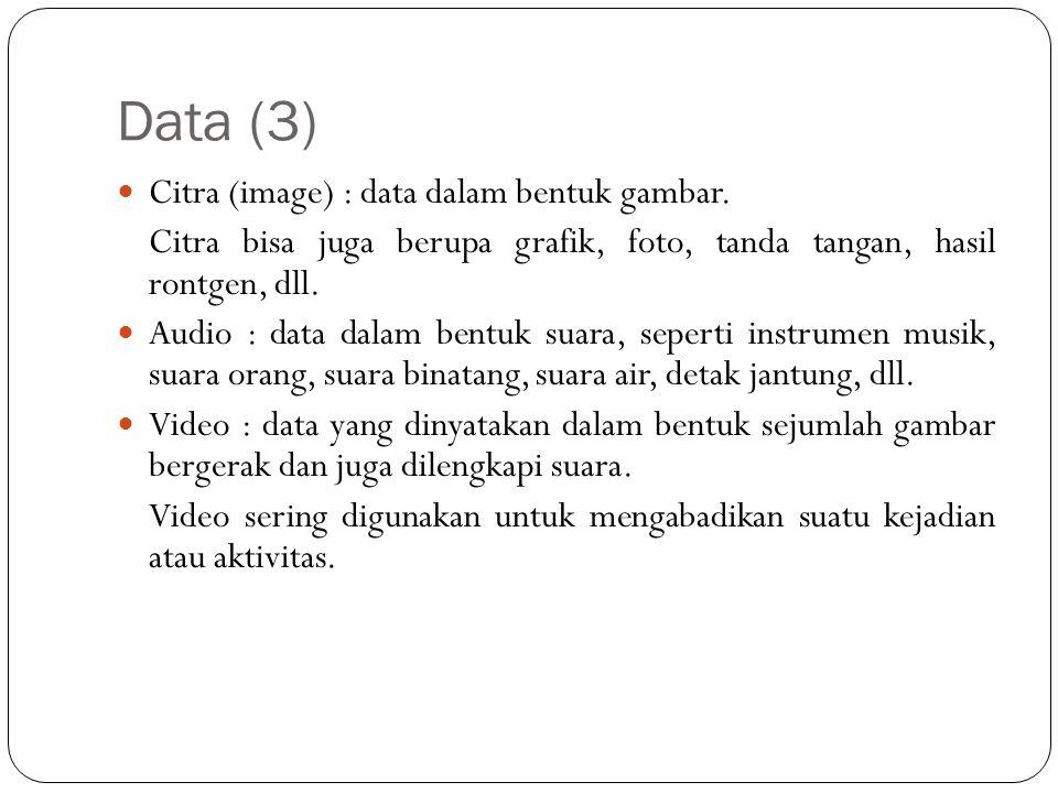 Data (3)  Citra (image) : data dalam bentuk gambar. Citra bisa juga berupa grafik, foto, tanda tangan, hasil rontgen, dll.  Audio : data dalam bentu