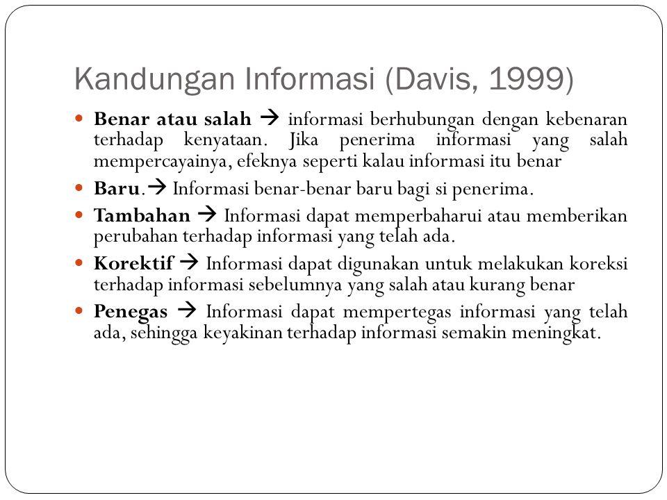 Kandungan Informasi (Davis, 1999)  Benar atau salah  informasi berhubungan dengan kebenaran terhadap kenyataan. Jika penerima informasi yang salah m