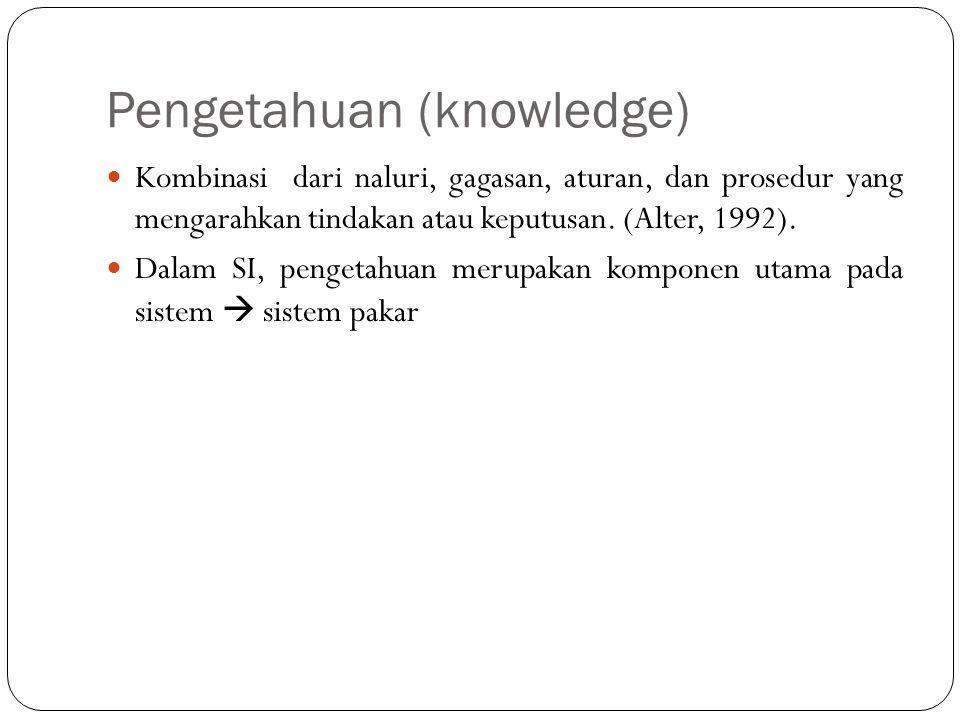 Pengetahuan (knowledge)  Kombinasi dari naluri, gagasan, aturan, dan prosedur yang mengarahkan tindakan atau keputusan. (Alter, 1992).  Dalam SI, pe