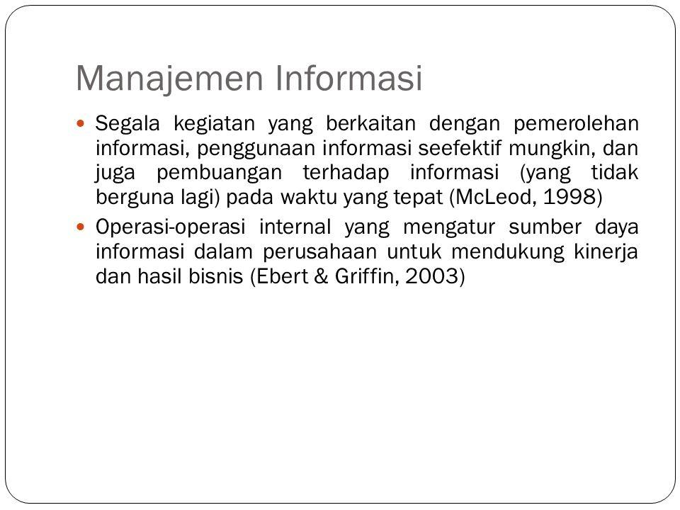 Manajemen Informasi  Segala kegiatan yang berkaitan dengan pemerolehan informasi, penggunaan informasi seefektif mungkin, dan juga pembuangan terhada