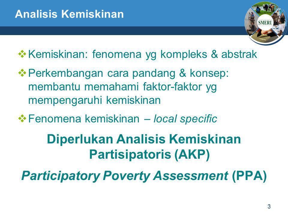 3 Analisis Kemiskinan  Kemiskinan: fenomena yg kompleks & abstrak  Perkembangan cara pandang & konsep: membantu memahami faktor-faktor yg mempengaru