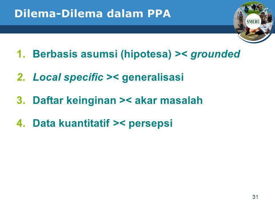 31 Dilema-Dilema dalam PPA 1.Berbasis asumsi (hipotesa) >< grounded 2.Local specific >< generalisasi 3.Daftar keinginan >< akar masalah 4.Data kuantit