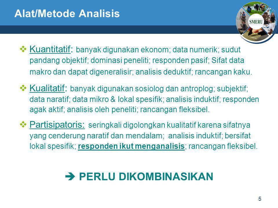 5 Alat/Metode Analisis  Kuantitatif: banyak digunakan ekonom; data numerik; sudut pandang objektif; dominasi peneliti; responden pasif; Sifat data ma