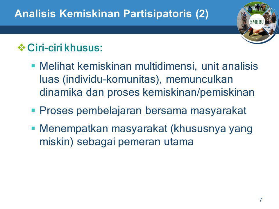 7 Analisis Kemiskinan Partisipatoris (2)  Ciri-ciri khusus:  Melihat kemiskinan multidimensi, unit analisis luas (individu-komunitas), memunculkan d