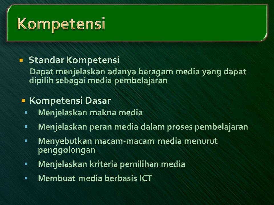  Standar Kompetensi Dapat menjelaskan adanya beragam media yang dapat dipilih sebagai media pembelajaran  Kompetensi Dasar  Menjelaskan makna media
