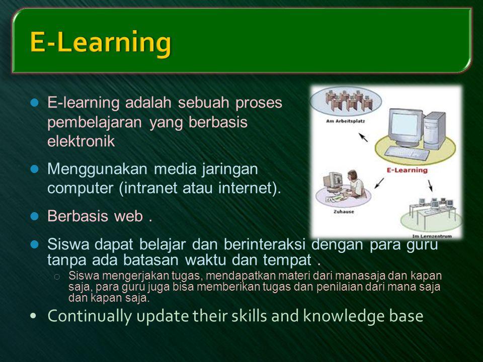  E-learning adalah sebuah proses pembelajaran yang berbasis elektronik  Menggunakan media jaringan computer (intranet atau internet).  Berbasis web