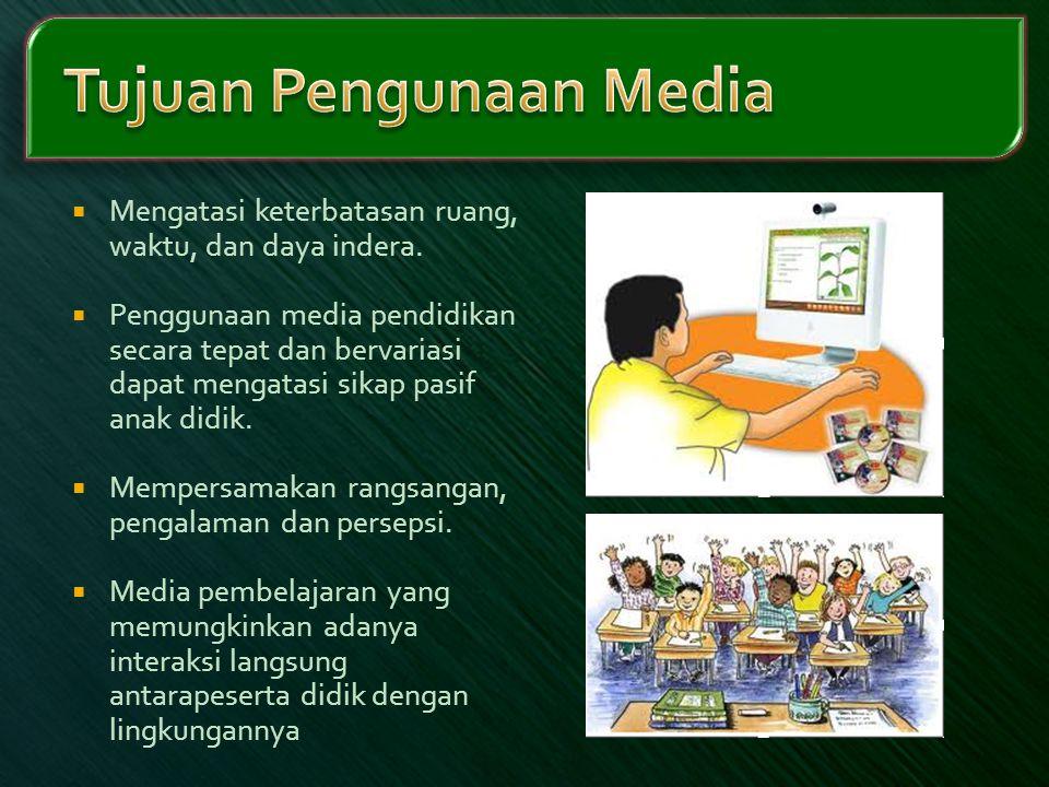  Mengatasi keterbatasan ruang, waktu, dan daya indera.  Penggunaan media pendidikan secara tepat dan bervariasi dapat mengatasi sikap pasif anak did