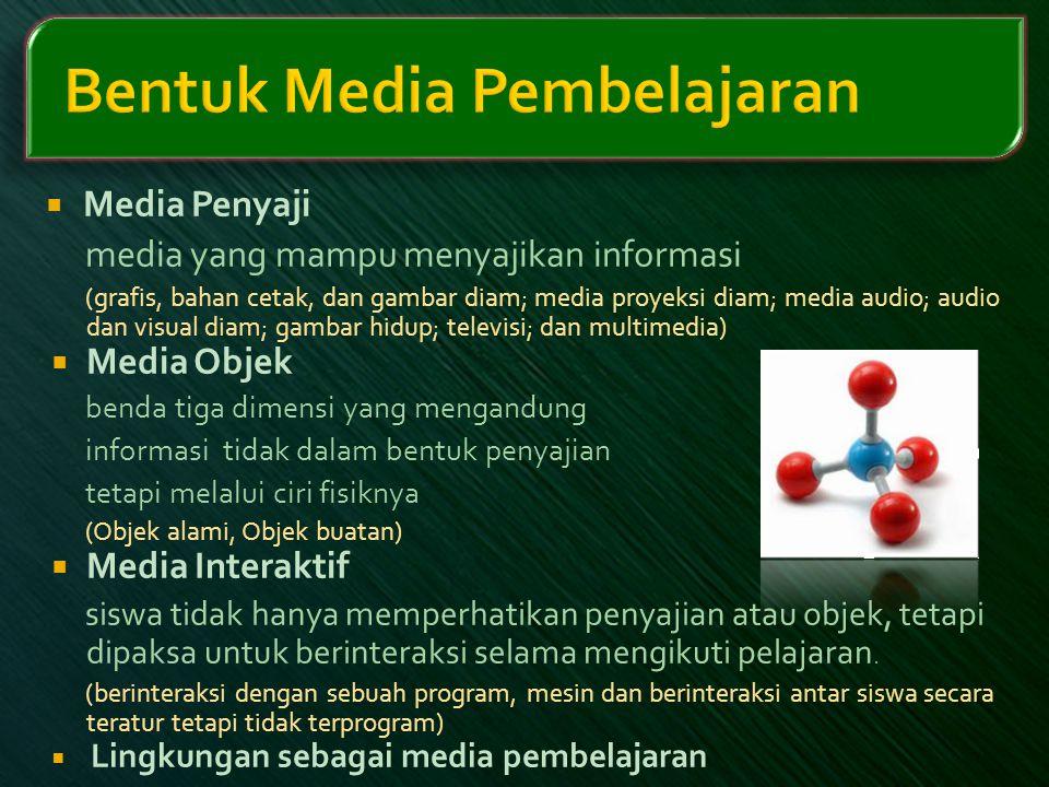  Media Penyaji media yang mampu menyajikan informasi (grafis, bahan cetak, dan gambar diam; media proyeksi diam; media audio; audio dan visual diam;