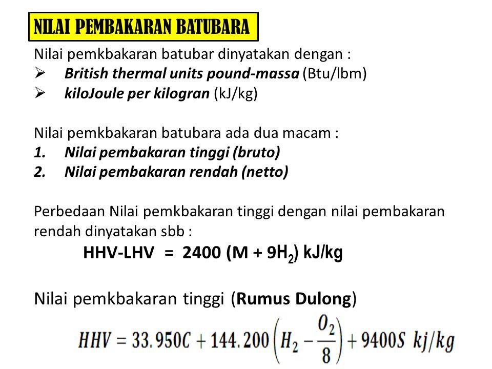 NILAI PEMBAKARAN BATUBARA Nilai pemkbakaran batubar dinyatakan dengan :  British thermal units pound-massa (Btu/lbm)  kiloJoule per kilogran (kJ/kg)