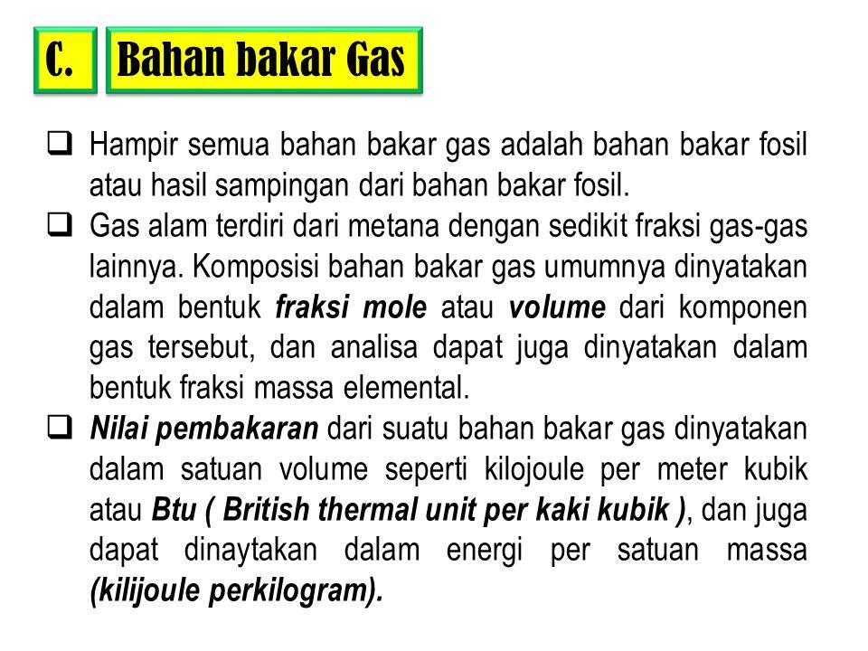 Bahan bakar Gas C.  Hampir semua bahan bakar gas adalah bahan bakar fosil atau hasil sampingan dari bahan bakar fosil.  Gas alam terdiri dari metana