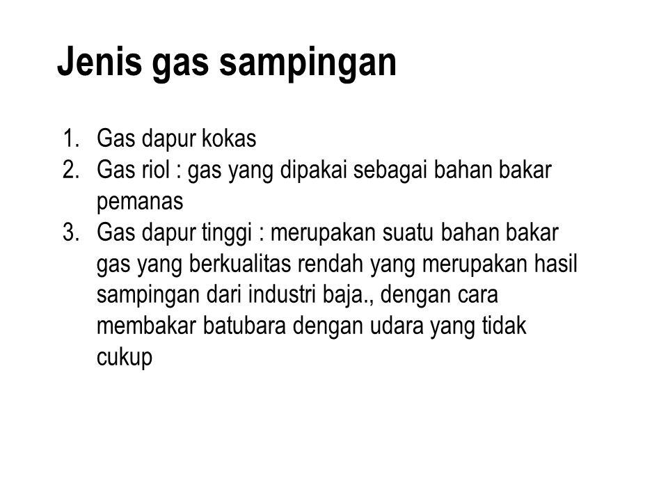 1.Gas dapur kokas 2.Gas riol : gas yang dipakai sebagai bahan bakar pemanas 3.Gas dapur tinggi : merupakan suatu bahan bakar gas yang berkualitas rend