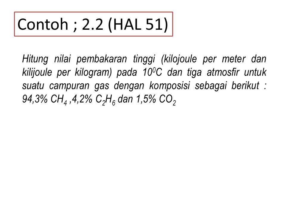 Contoh ; 2.2 (HAL 51) Hitung nilai pembakaran tinggi (kilojoule per meter dan kilijoule per kilogram) pada 10 0 C dan tiga atmosfir untuk suatu campur