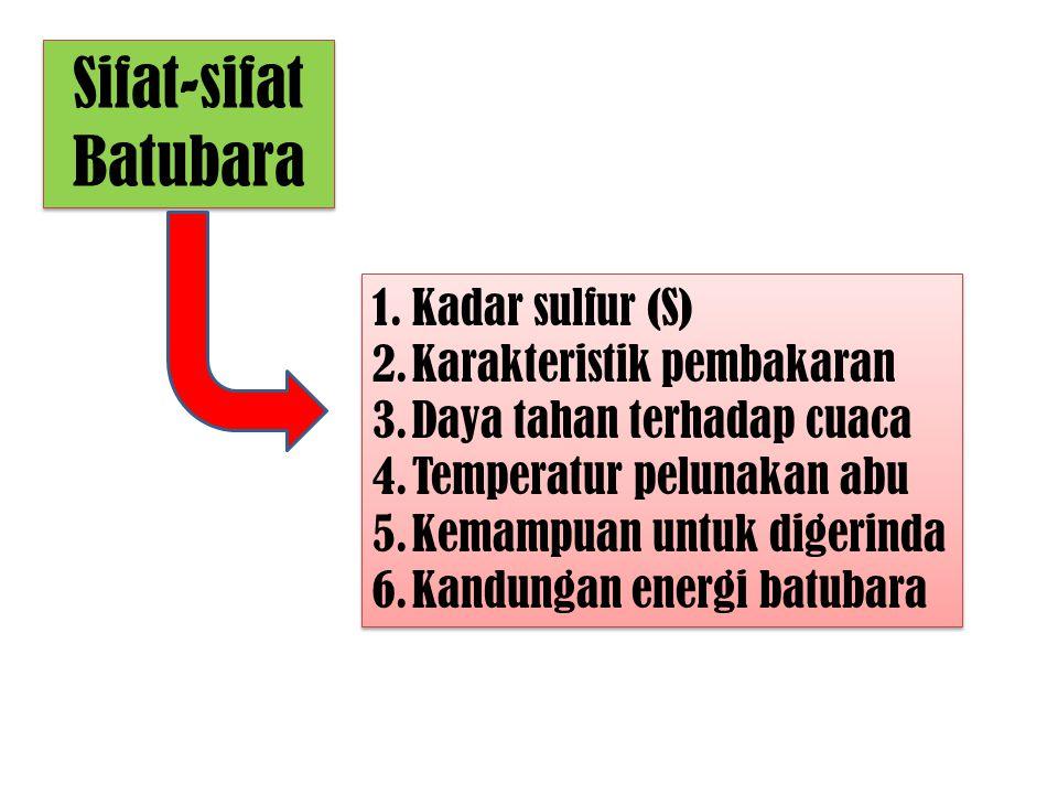 Sifat-sifat Batubara 1.Kadar sulfur (S) 2.Karakteristik pembakaran 3.Daya tahan terhadap cuaca 4.Temperatur pelunakan abu 5.Kemampuan untuk digerinda
