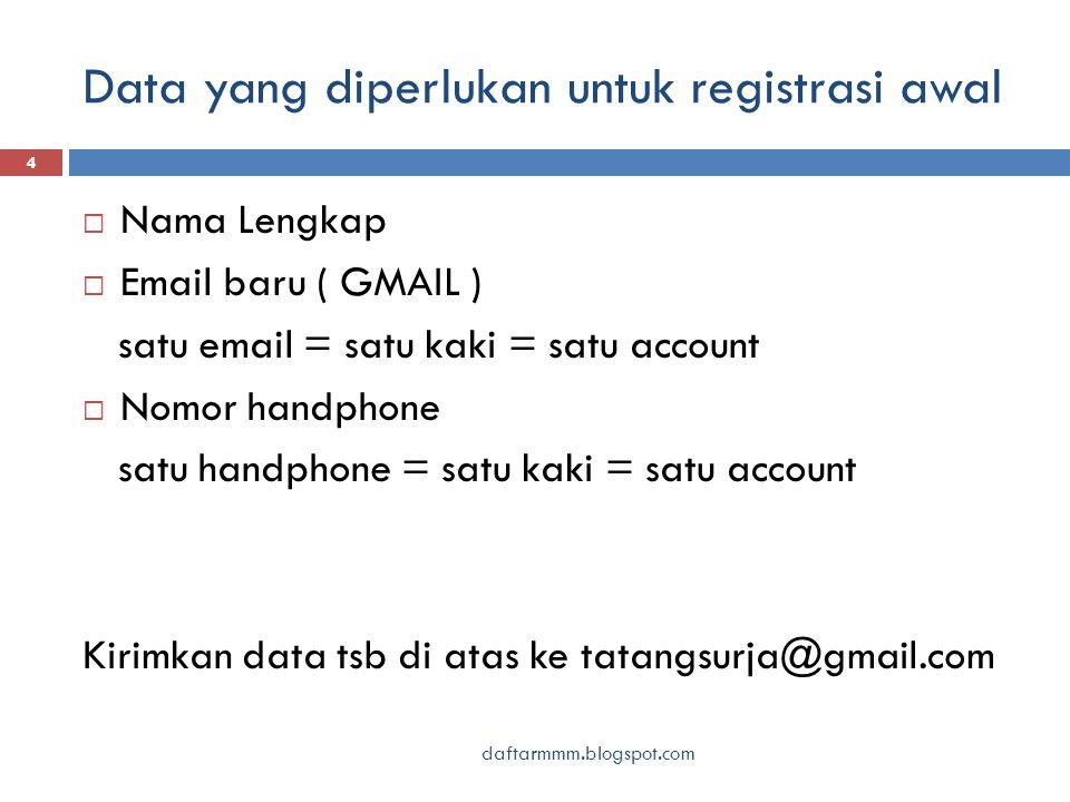Data yang diperlukan untuk registrasi awal daftarmmm.blogspot.com 4  Nama Lengkap  Email baru ( GMAIL ) satu email = satu kaki = satu account  Nomo