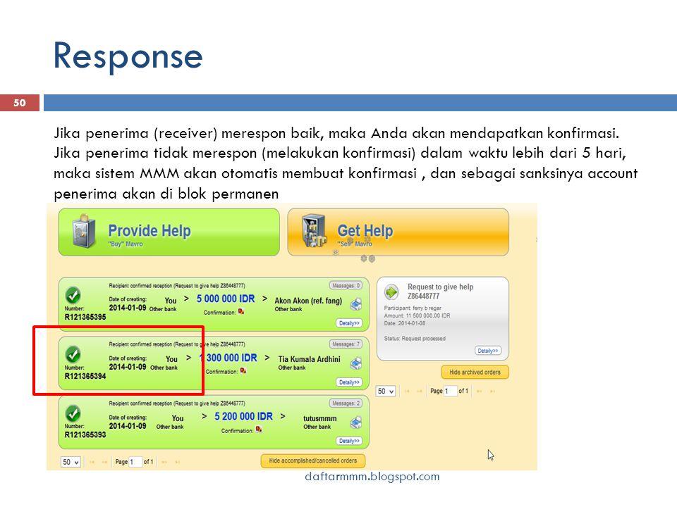 Response daftarmmm.blogspot.com 50 Jika penerima (receiver) merespon baik, maka Anda akan mendapatkan konfirmasi. Jika penerima tidak merespon (melaku