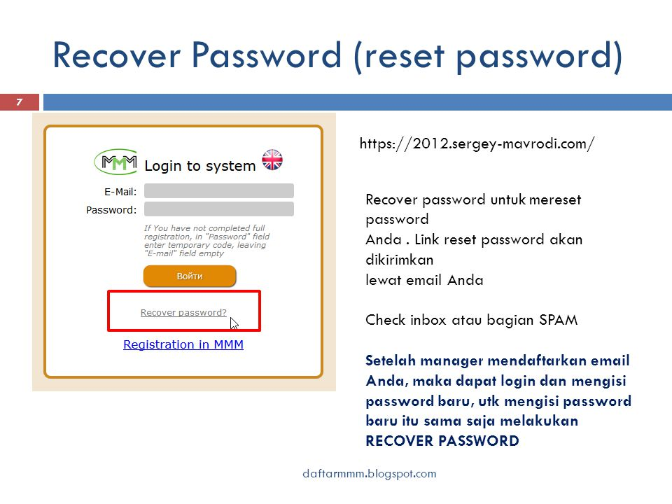 Recover Password (reset password) daftarmmm.blogspot.com 7 https://2012.sergey-mavrodi.com/ Recover password untuk mereset password Anda.