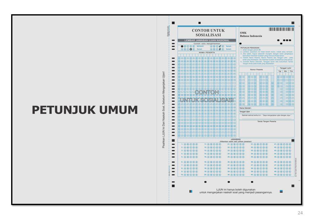 POS PENGAWAS UN 6)membagikan naskah soal UN dengan cara meletakkan di atas meja peserta dalam posisi tertutup (terbalik); 7)memberikan kesempatan kepada peserta UN untuk mengecek kelengkapan soal; 8)mewajibkan peserta untuk menuliskan nama dan nomor ujian pada kolom yang tersedia di halaman 1 (satu) naskah soal dan LJUN sebelum dipisahkan; 6)membagikan naskah soal UN dengan cara meletakkan di atas meja peserta dalam posisi tertutup (terbalik); 7)memberikan kesempatan kepada peserta UN untuk mengecek kelengkapan soal; 8)mewajibkan peserta untuk menuliskan nama dan nomor ujian pada kolom yang tersedia di halaman 1 (satu) naskah soal dan LJUN sebelum dipisahkan; 25