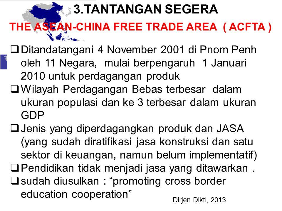 THE ASEAN-CHINA FREE TRADE AREA ( ACFTA )  Ditandatangani 4 November 2001 di Pnom Penh oleh 11 Negara, mulai berpengaruh 1 Januari 2010 untuk perdaga