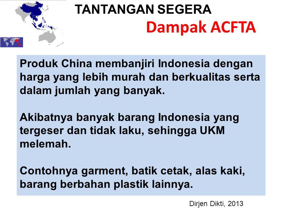 Dampak ACFTA Produk China membanjiri Indonesia dengan harga yang lebih murah dan berkualitas serta dalam jumlah yang banyak. Akibatnya banyak barang I
