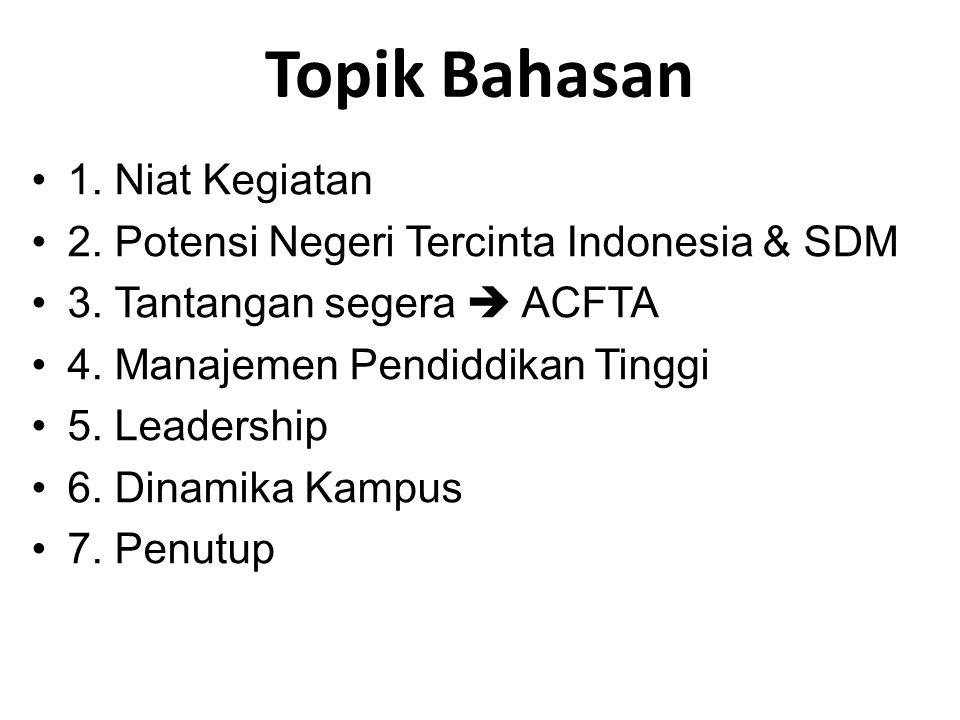 Topik Bahasan •1. Niat Kegiatan •2. Potensi Negeri Tercinta Indonesia & SDM •3. Tantangan segera  ACFTA •4. Manajemen Pendiddikan Tinggi •5. Leadersh