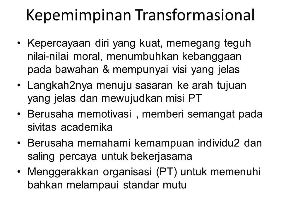 Kepemimpinan Transformasional •Kepercayaan diri yang kuat, memegang teguh nilai-nilai moral, menumbuhkan kebanggaan pada bawahan & mempunyai visi yang